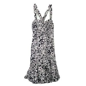 Nine West Blue Floral Drop Waist Ruffle Dress